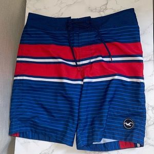 NWOT HOLLISTER BLUE AND RED SWIM TRUNKS
